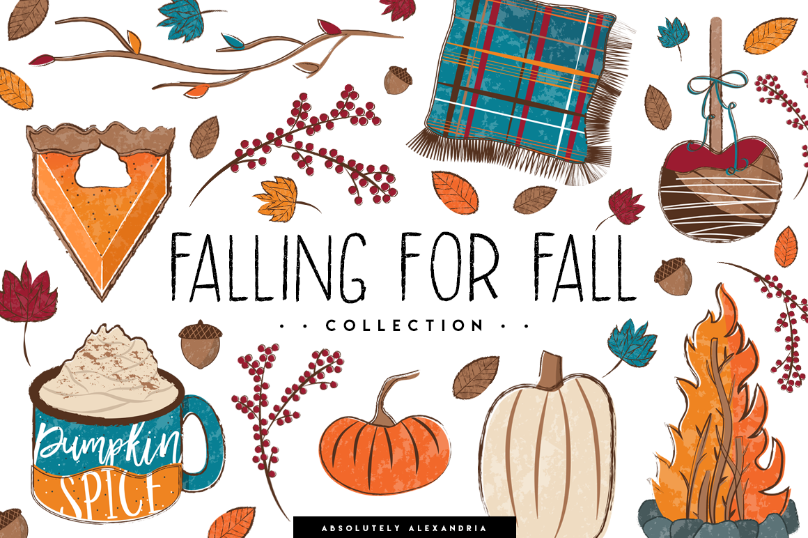 Falling For Fall Illustrations & Seamless Digital Patterns example image 1