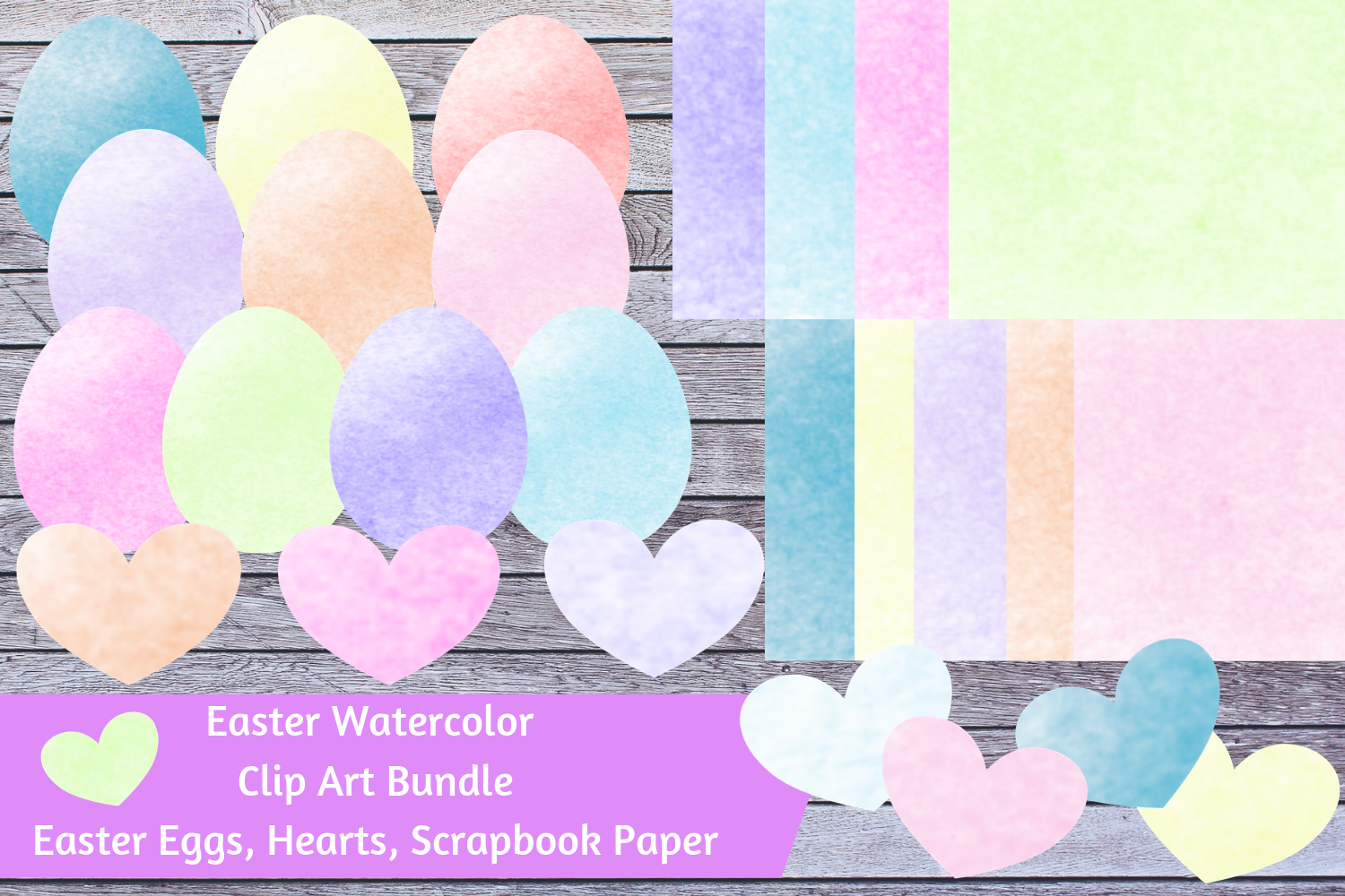 Watercolor Easter Bundle - Easter Eggs, Hearts, Paper example image 1
