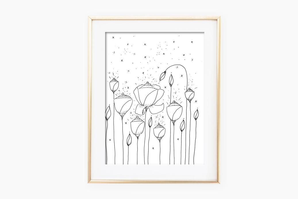 Light Flower Doodle Art, A1, SVG example image 2