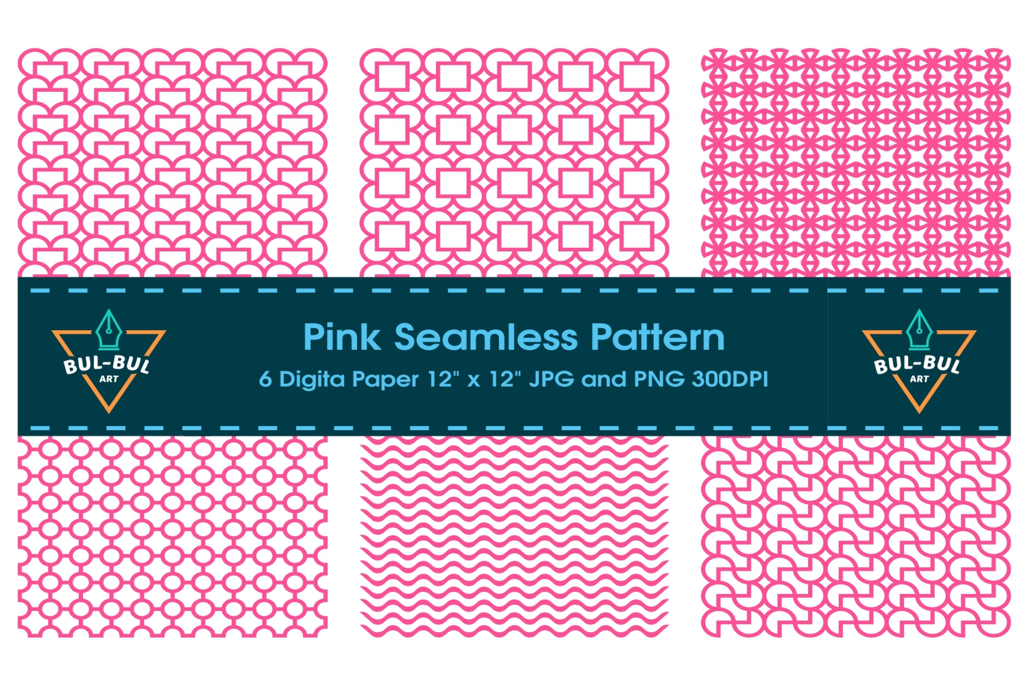 Seamless Pink Pattern Background includes example image 1