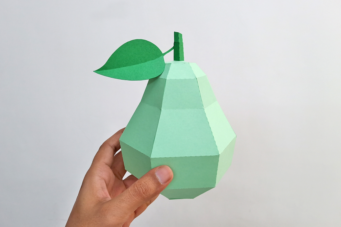 DIY Papercraft Pear,Papercraft fruits,Paper toy,Party,Cricut example image 2