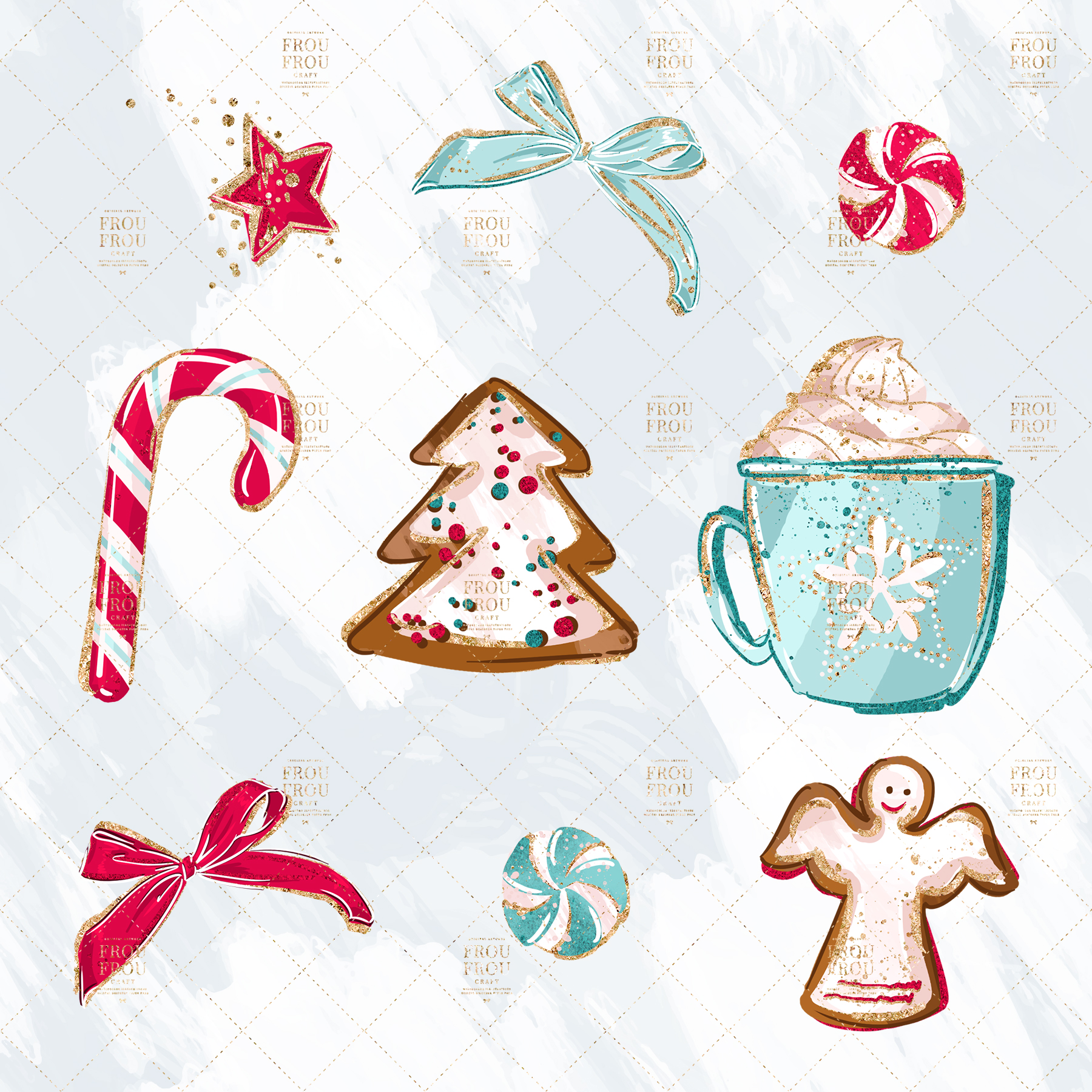 Christmas Winter Ginger Bread Sugar Cane Clip Art example image 6
