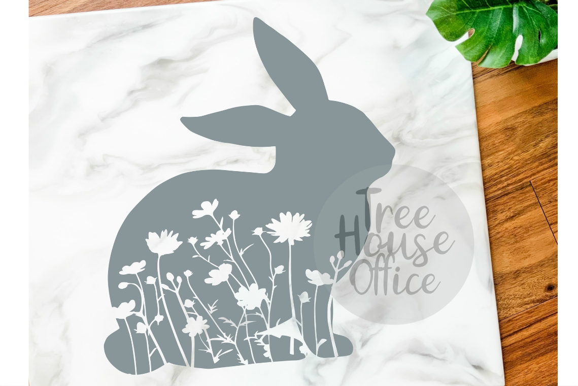 Floral Bunny Mandala Forest Zentangle Flower SVG/DXF/PNG example image 1