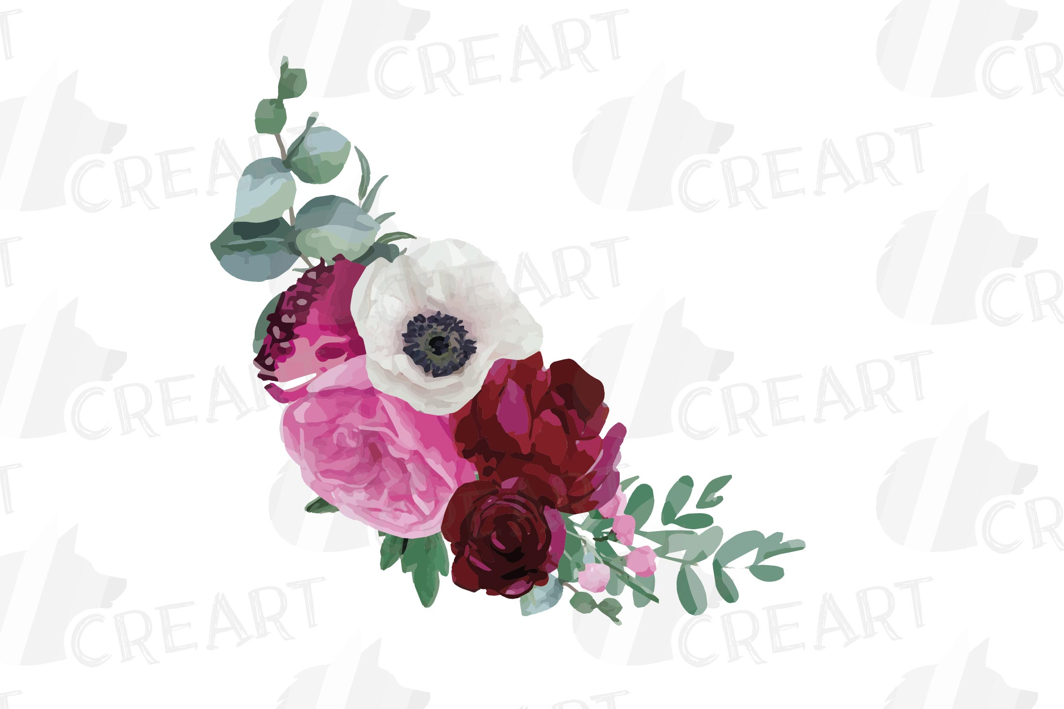 Watercolor elegant floral bouquets 2, rose, anemone decor example image 10