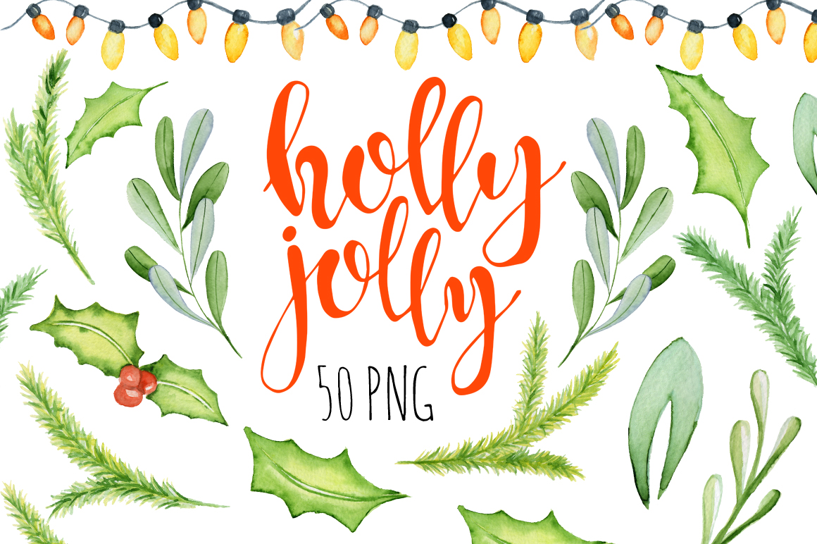 Christmas floral watercolor clipart Holly Jolly example image 5