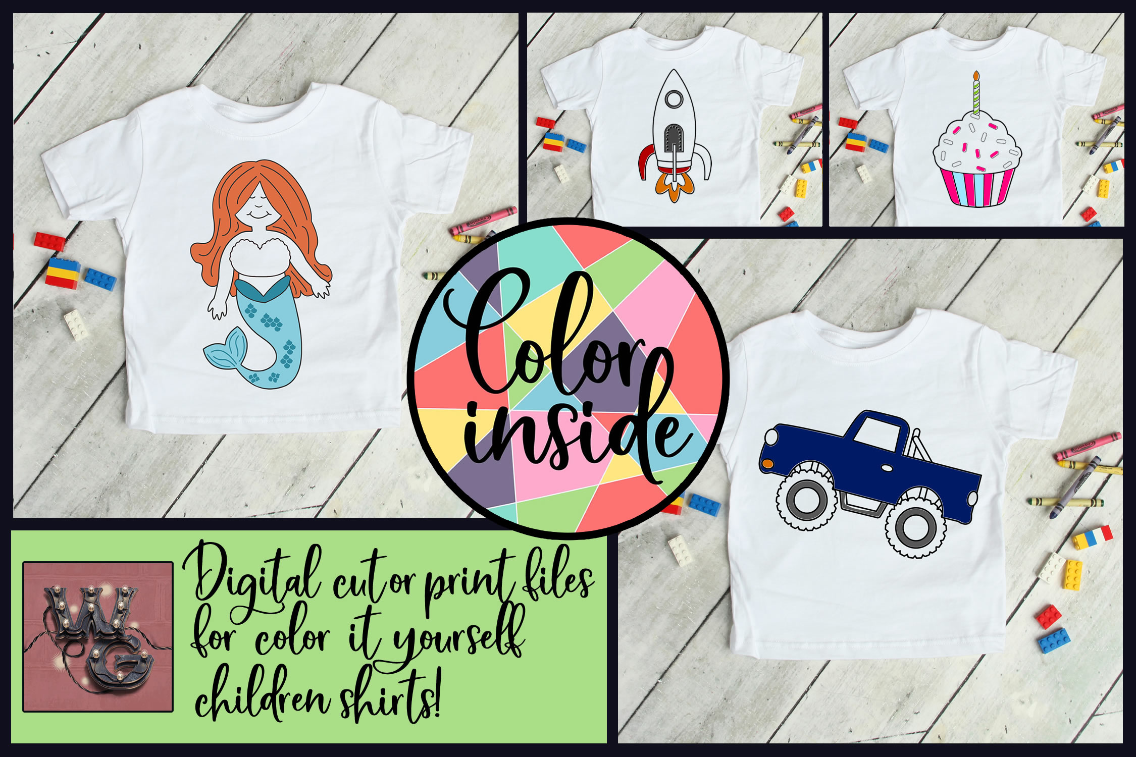 Color Inside the Lines Kid's Bundle SVG DXF PNG EPS Comm example image 1