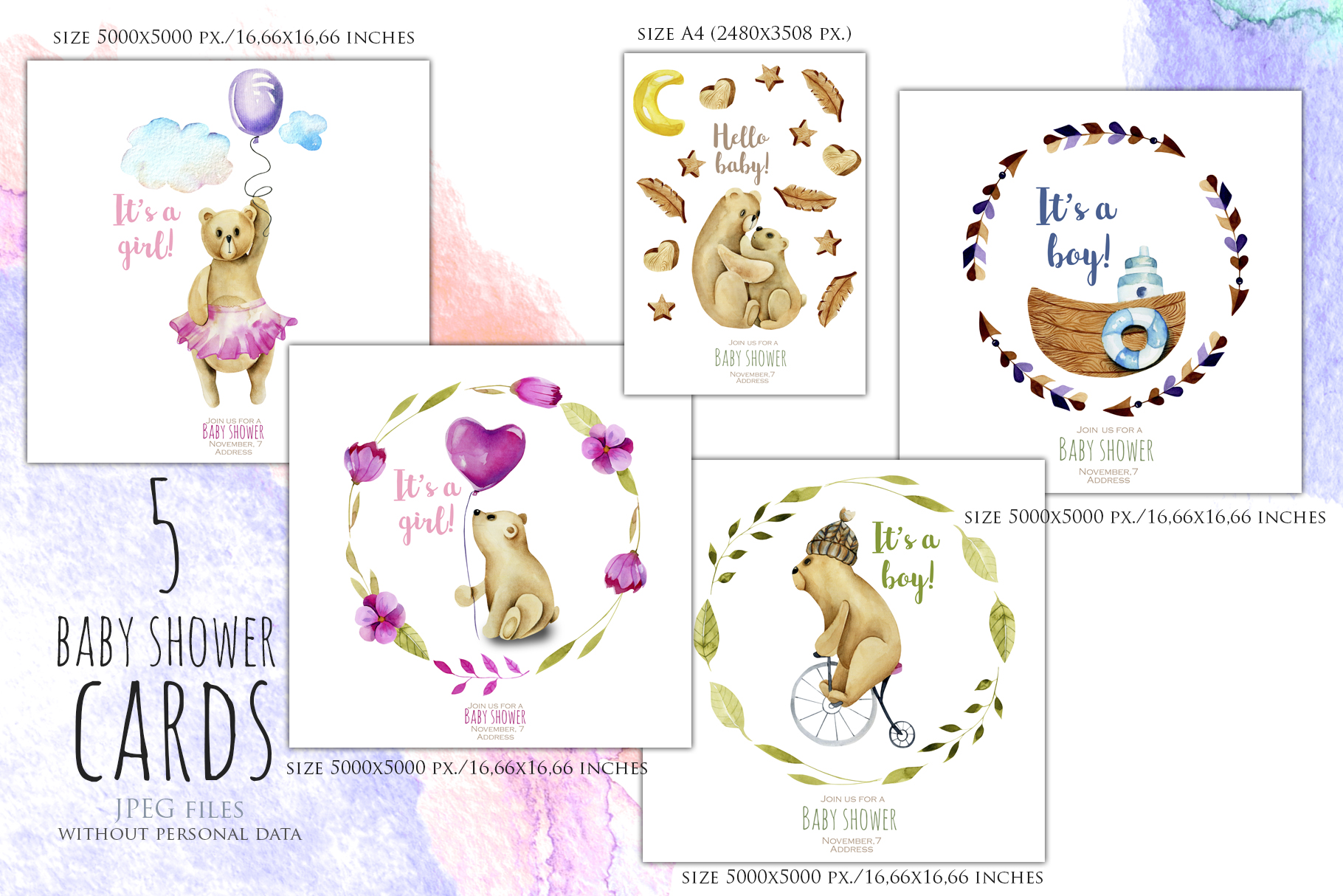 My dear Bears. Watercolor clipart. example image 3