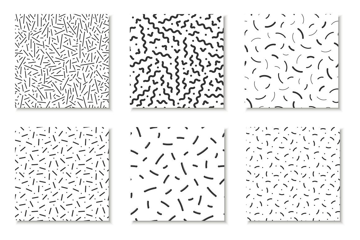 Bundle of Memphis seamless patterns example image 5