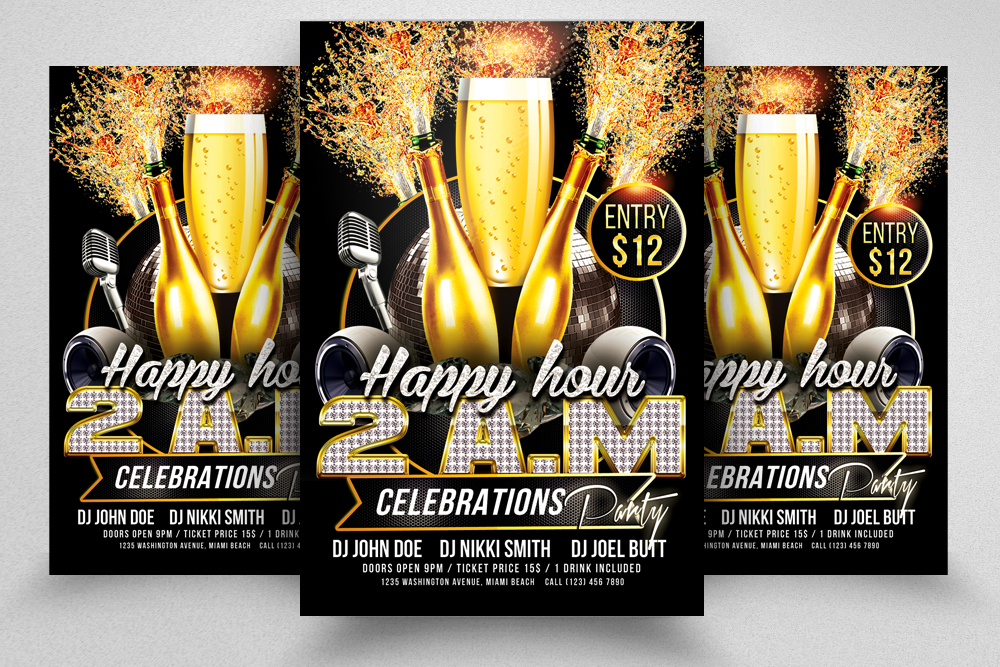 10 Happy Hour Flyer Template Bundle example image 7