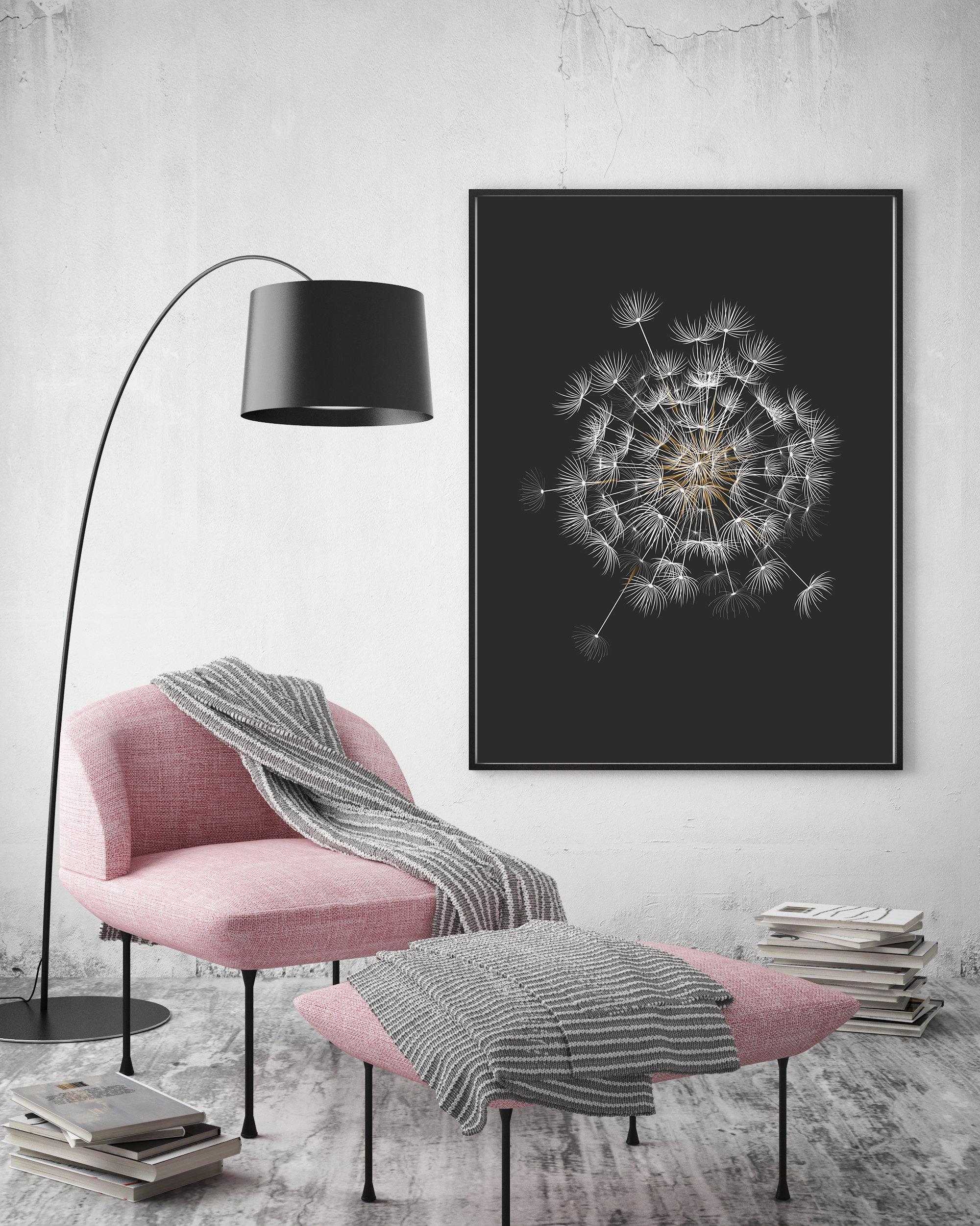 Dandelion Printable, Black Background Botanical Prints example image 4