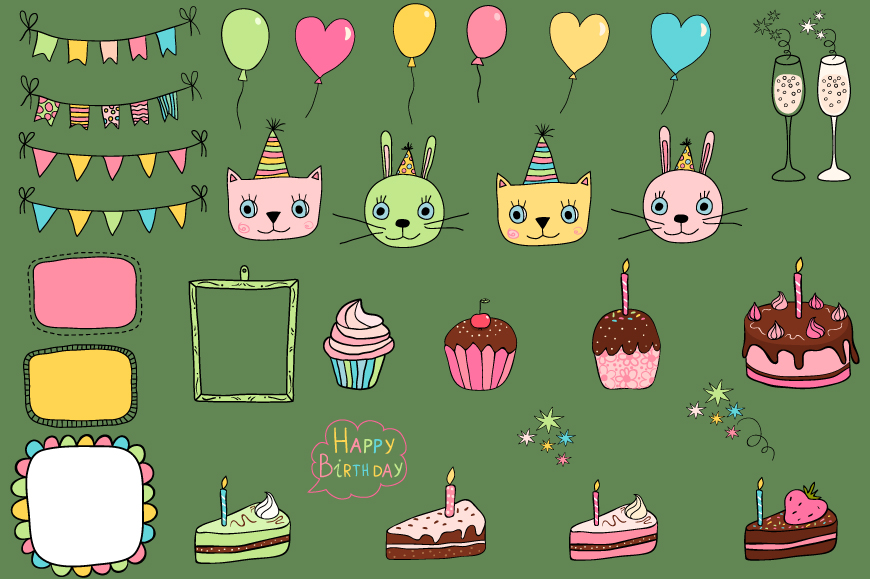 Cute birthday clipart, Party design elements example image 4
