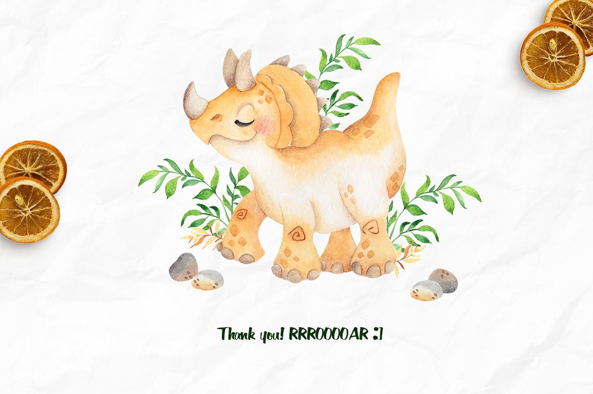 DinoLand. Cute Watercolor set example image 7