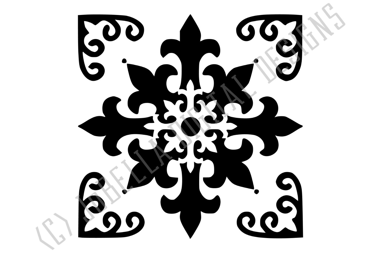 Spanish Tile 2 SVG, Stencil Template and Printable example image 2