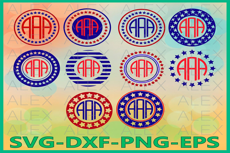 4th of July Svg, Circle Monogram Frames SVG, Patriotic Svg example image 1