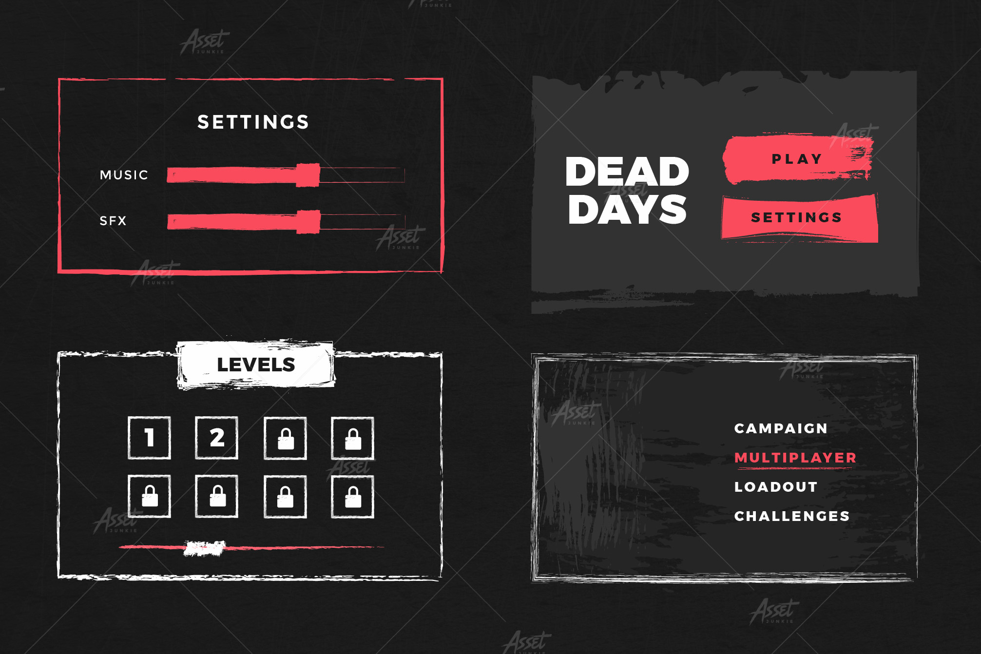 Grunge UI Vectors Kit example image 7
