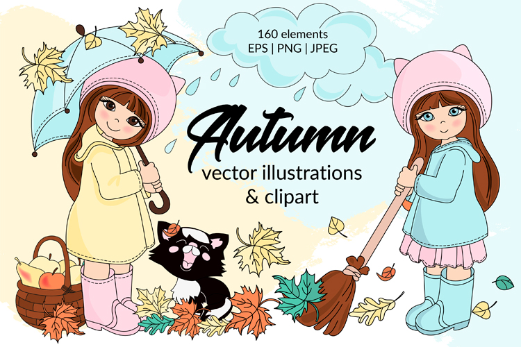 AUTUMN Vecor Clipart & Digital Print Set example image 1