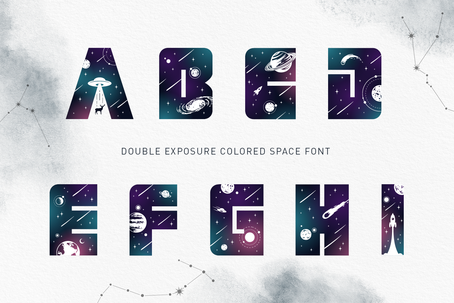 Lost In Space. Color Font - SVG example image 11
