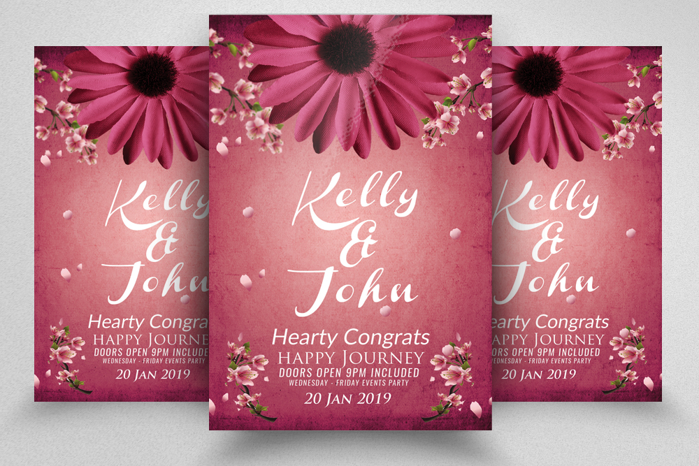 Floral Wedding Invitation Flyer Template example image 1