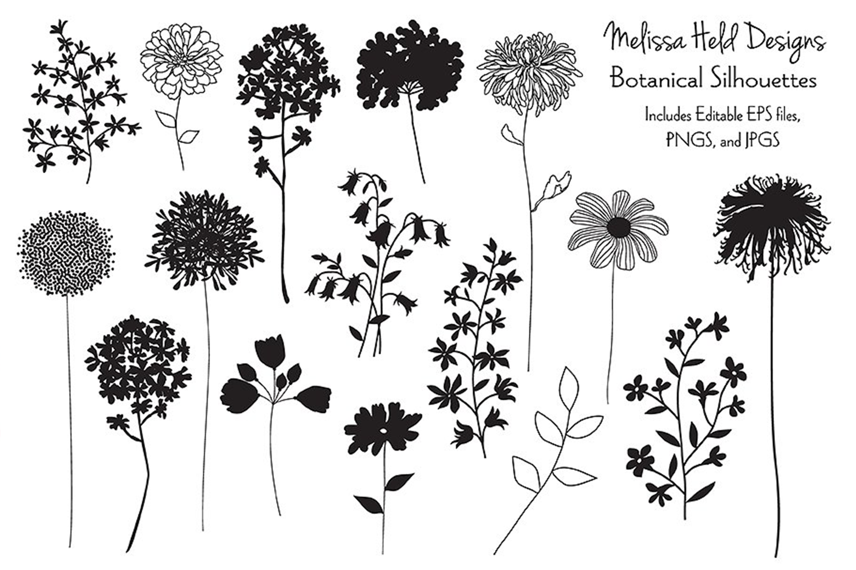 Hand Drawn Botanical Silhouettes example image 1