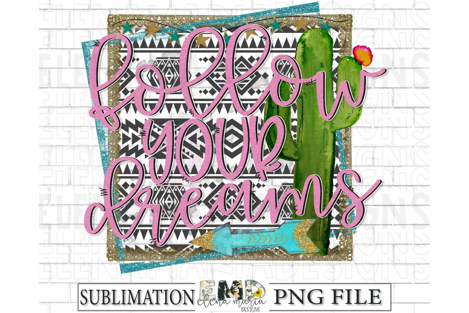 Follow Your Dreams Sublimation Transfer PNG Clipart example image 1