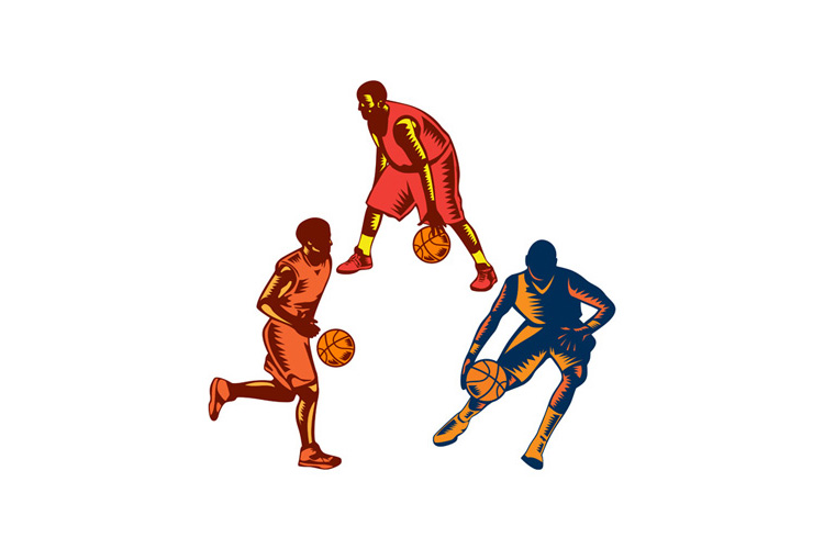 Basketball Player Dribble Woodcut Collection example image 1
