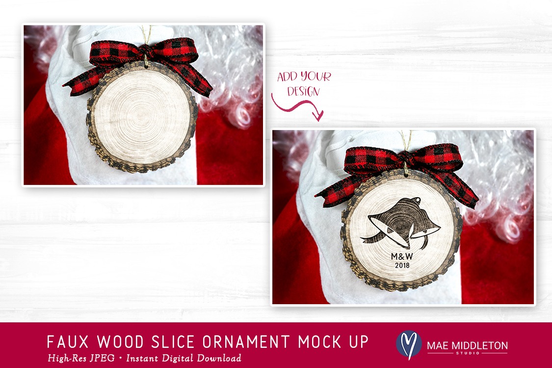 Christmas Mock up - Faux BARK WOOD SLICE ORNAMENT Mock up example image 3