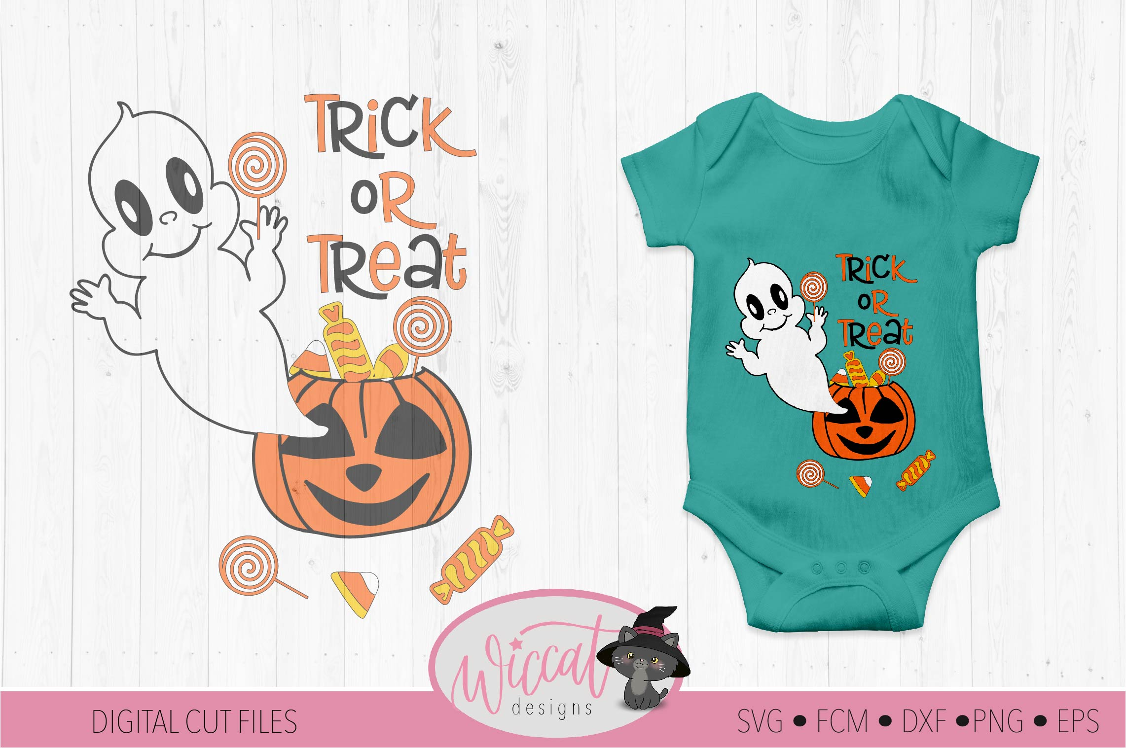 Ghost out of a pumpkin, baby Halloween svg, trick or treat example image 1