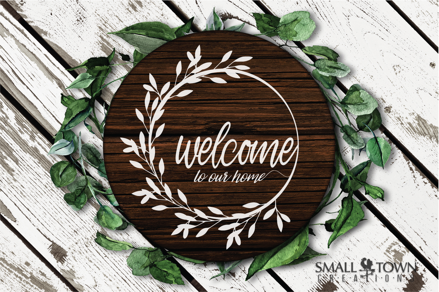 Home, Welcome, Blessed, Wreath, PRINT, CUT & DESIGN example image 4