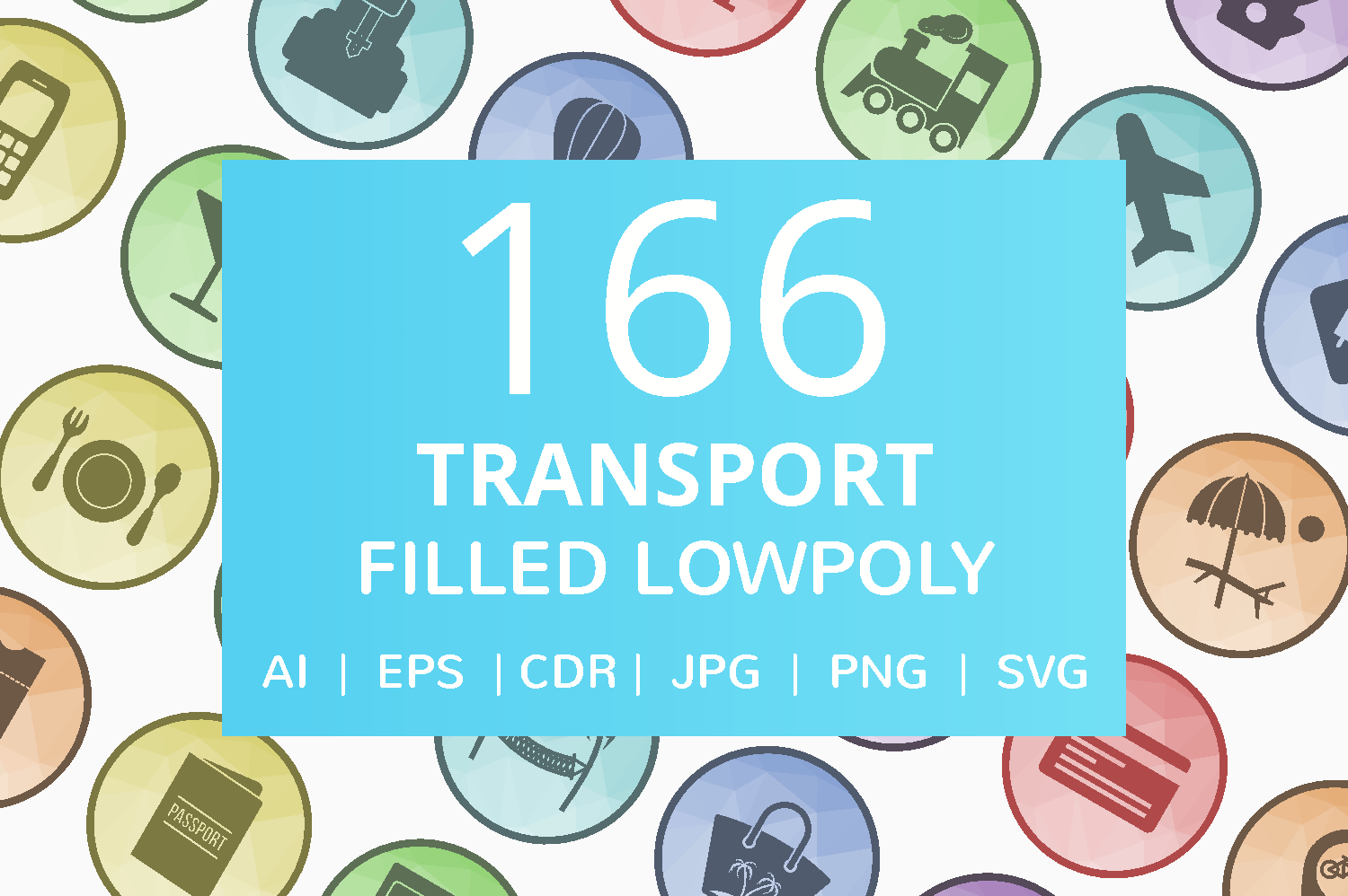 166 Transport Filled Low Poly Icons example image 1