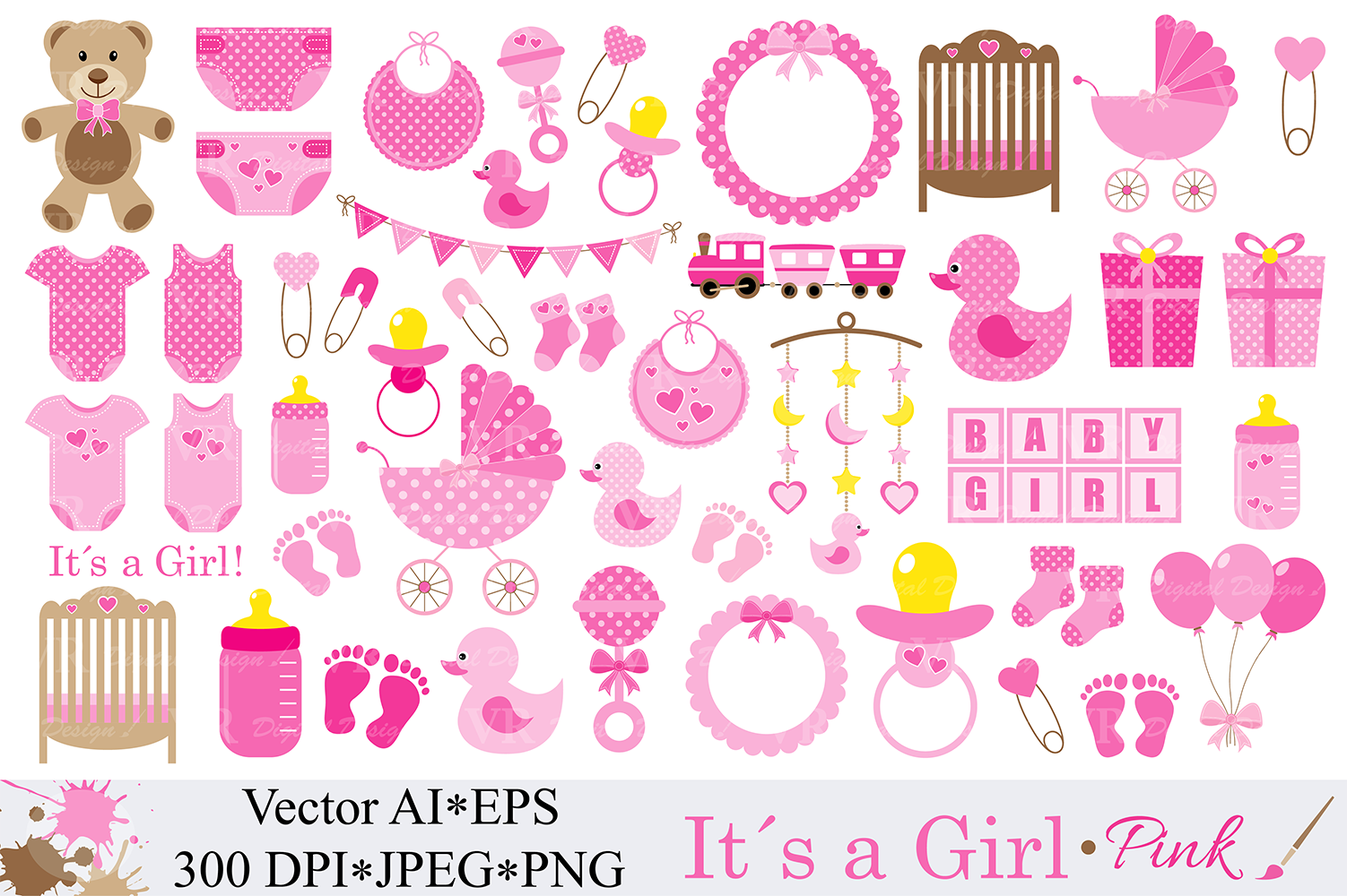 Baby Girl Clipart Pink Baby Shower Clipart Nursery Clip Art It S A Girl Graphics Illustration Vector 46277 Illustrations Design Bundles