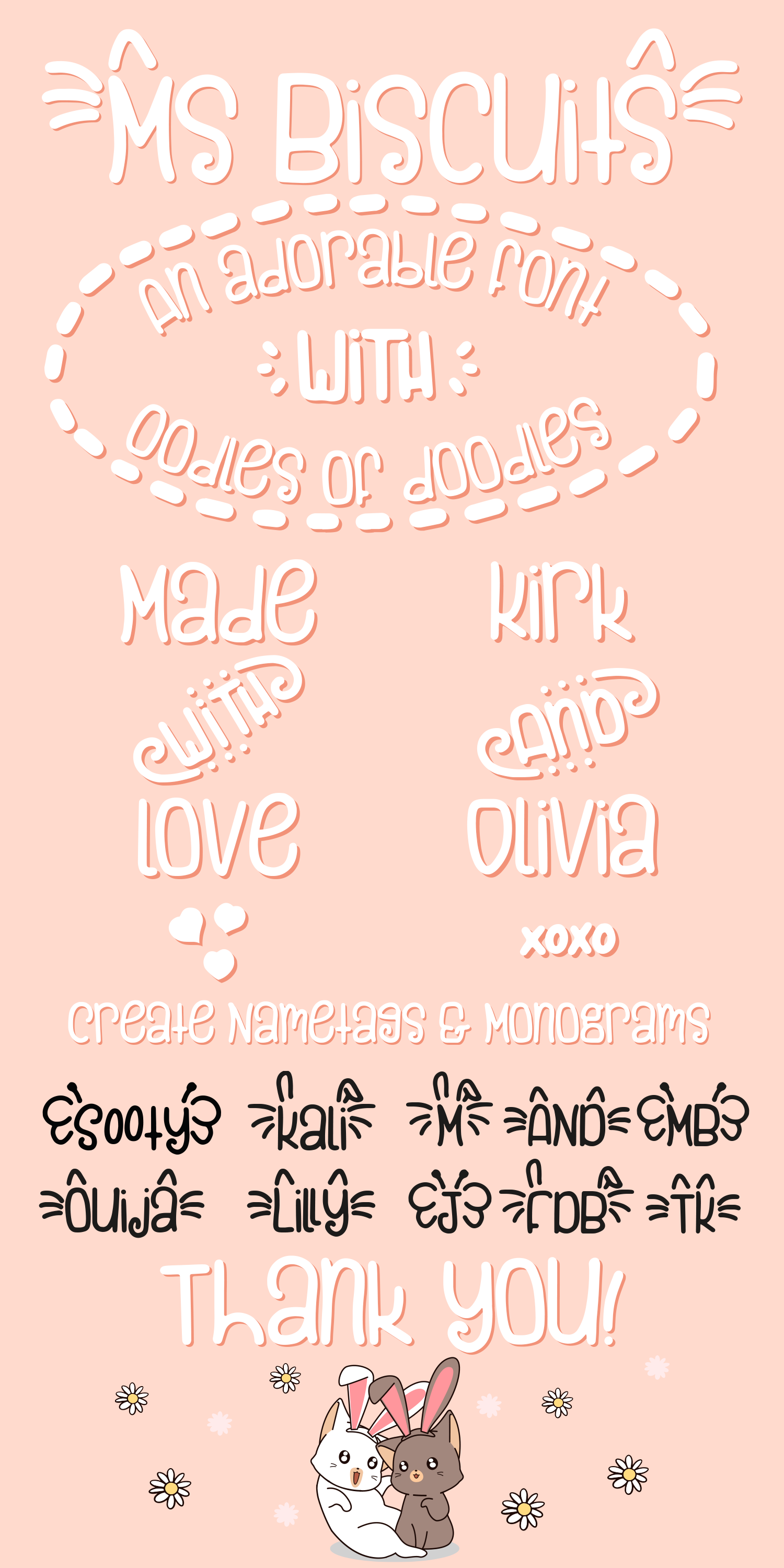 Ms. Biscuits - an adorable handwritten font with doodles example image 12