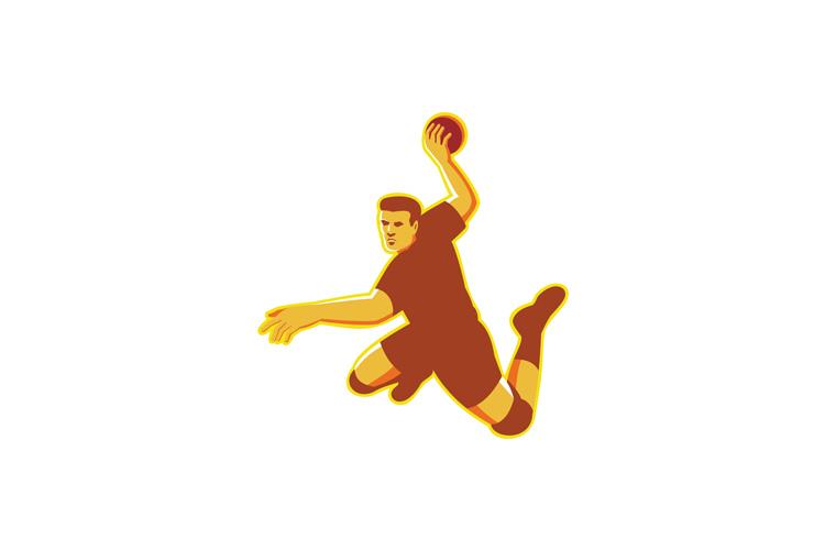 handball player jumping striking retro example image 1