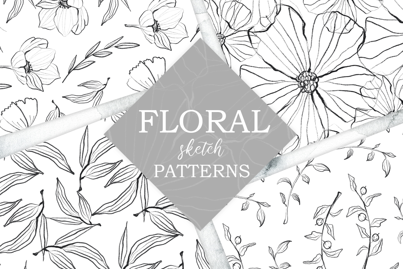Flower and leaves sketch patterns, Seamless backgrounds example image 1