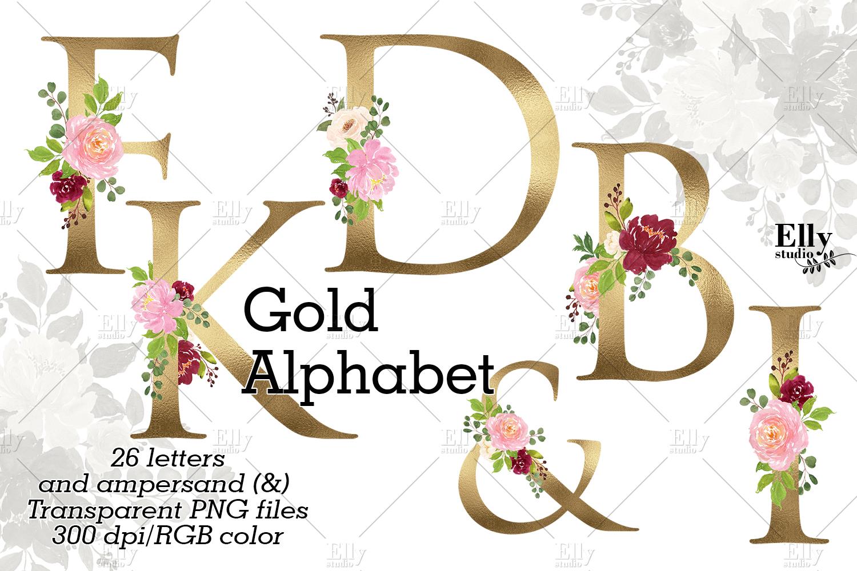 Gold Floral Alphabet Clip Art  85478