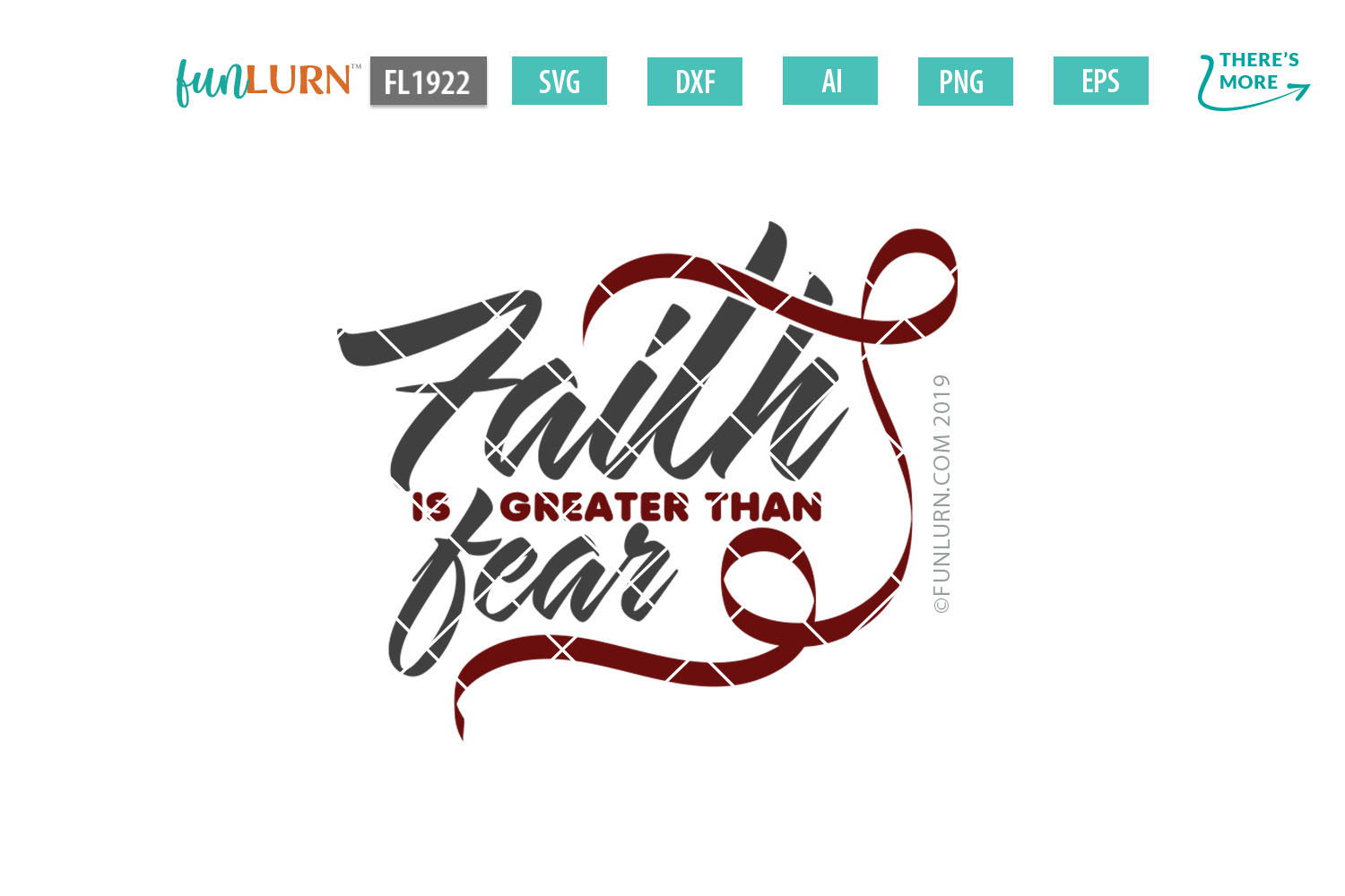 Faith is Greater Than Fear Burgundy Ribbon SVG Cut File example image 2