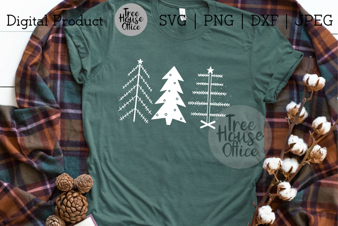 Primitive Christmas Trees, Simple Christmas SVG PNG DXF JPEG example image 2