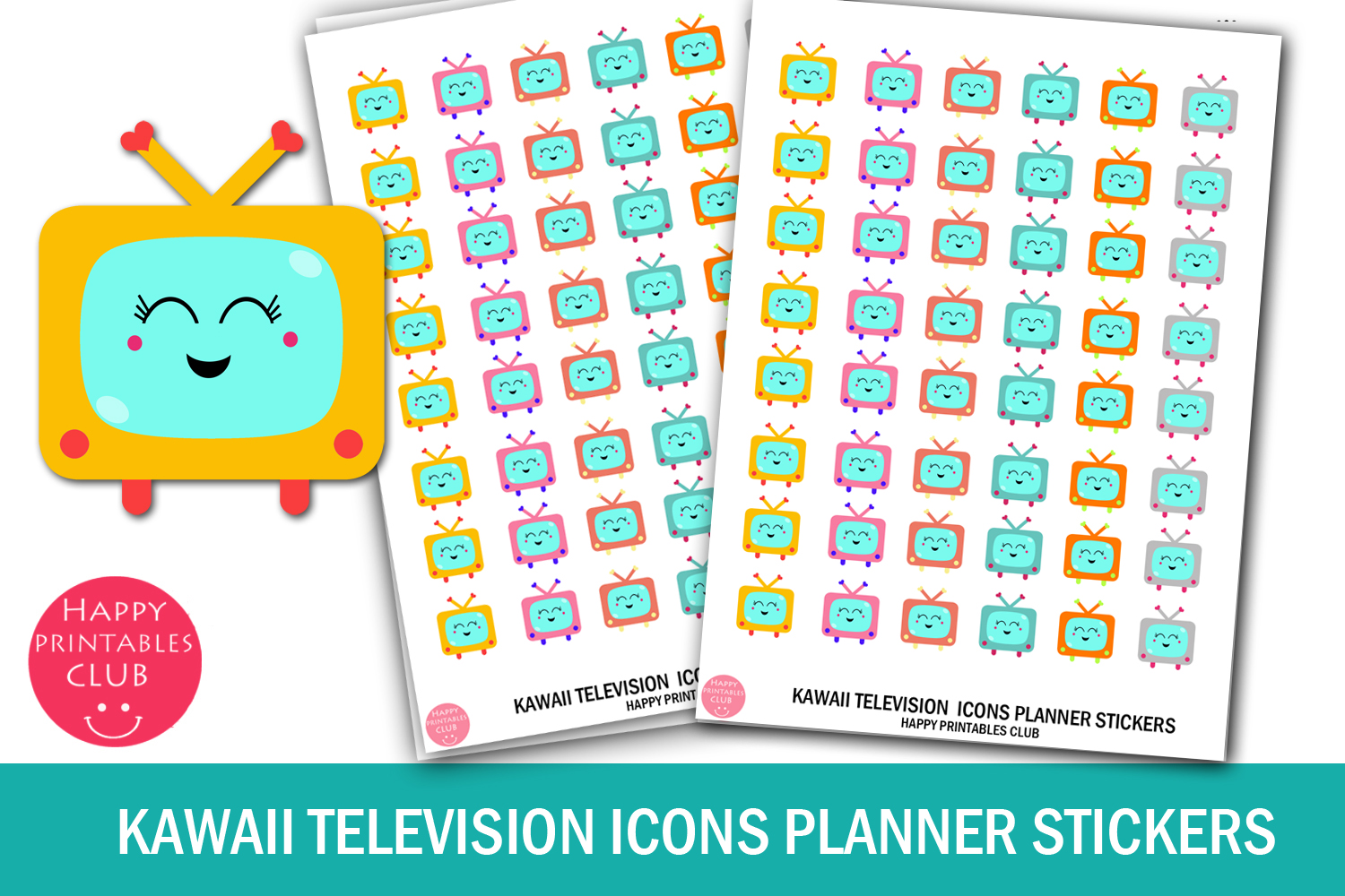 Kawaii Television Icons Planner Stickers- Television Icons example image 1