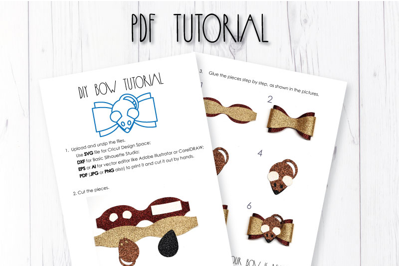 Mouse hair bow template SVG, DIY leather bow template example image 3
