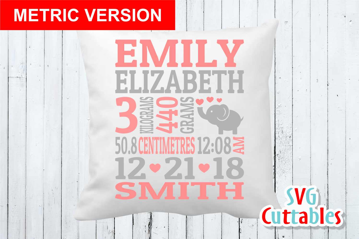 Baby Birth Announcement Template, SVG Cut File example image 4