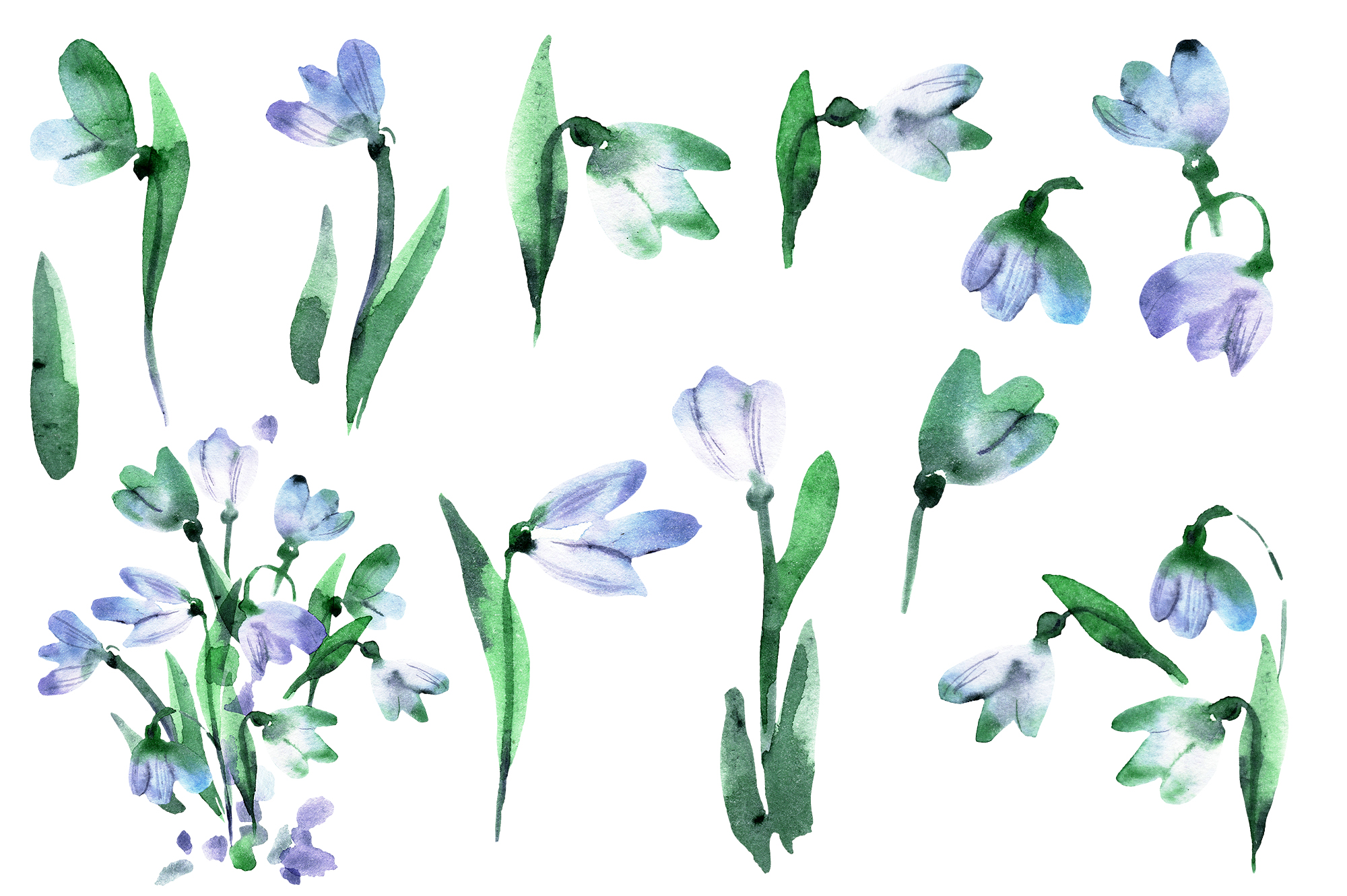 Watercolor crocuses and snowdrops example image 3