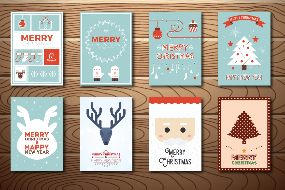 20 Christmas & New Year Cards Template AI, PS example image 2