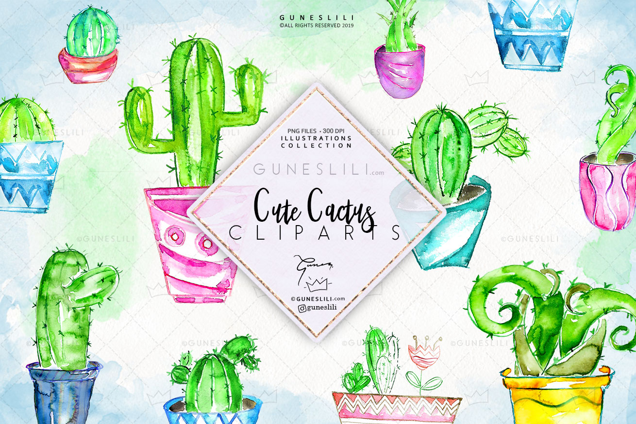 Watercolor Cactus Clipart in pots example image 1