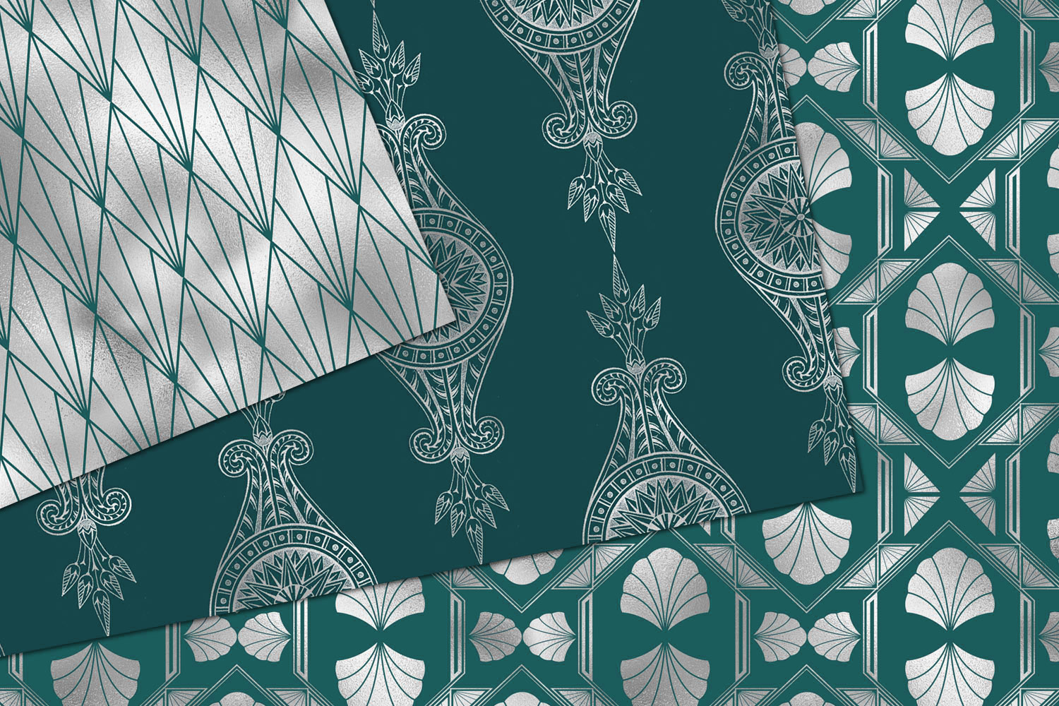 Teal and Silver Art Deco Digital Paper example image 2