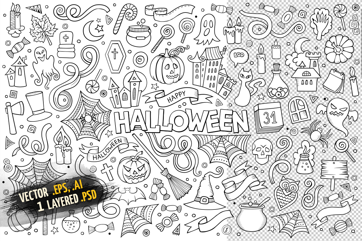 Halloween Objects & Symbols Set example image 3