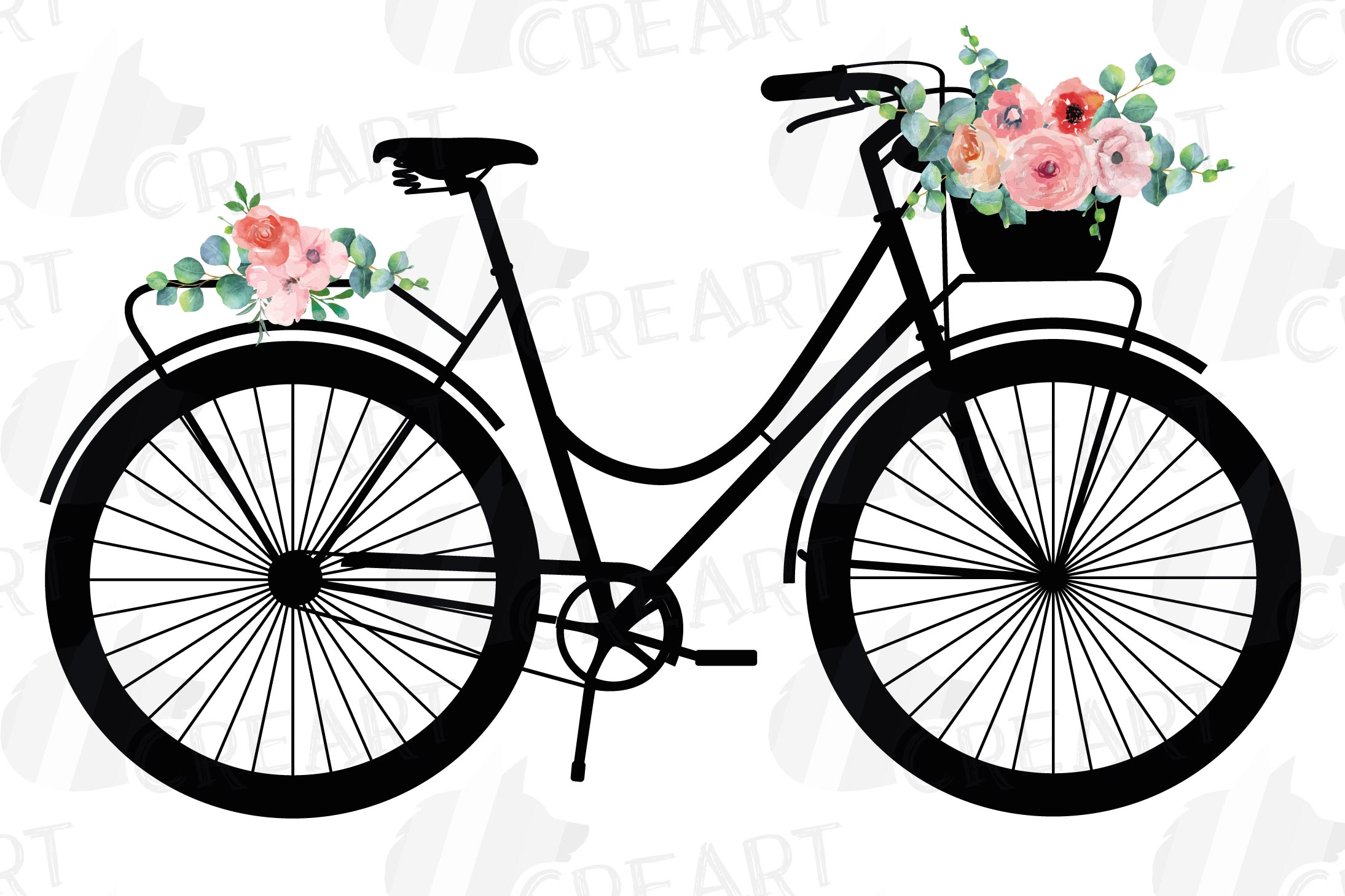 Floral bicycles clip art pack, blush floral and eucalyptus example image 4