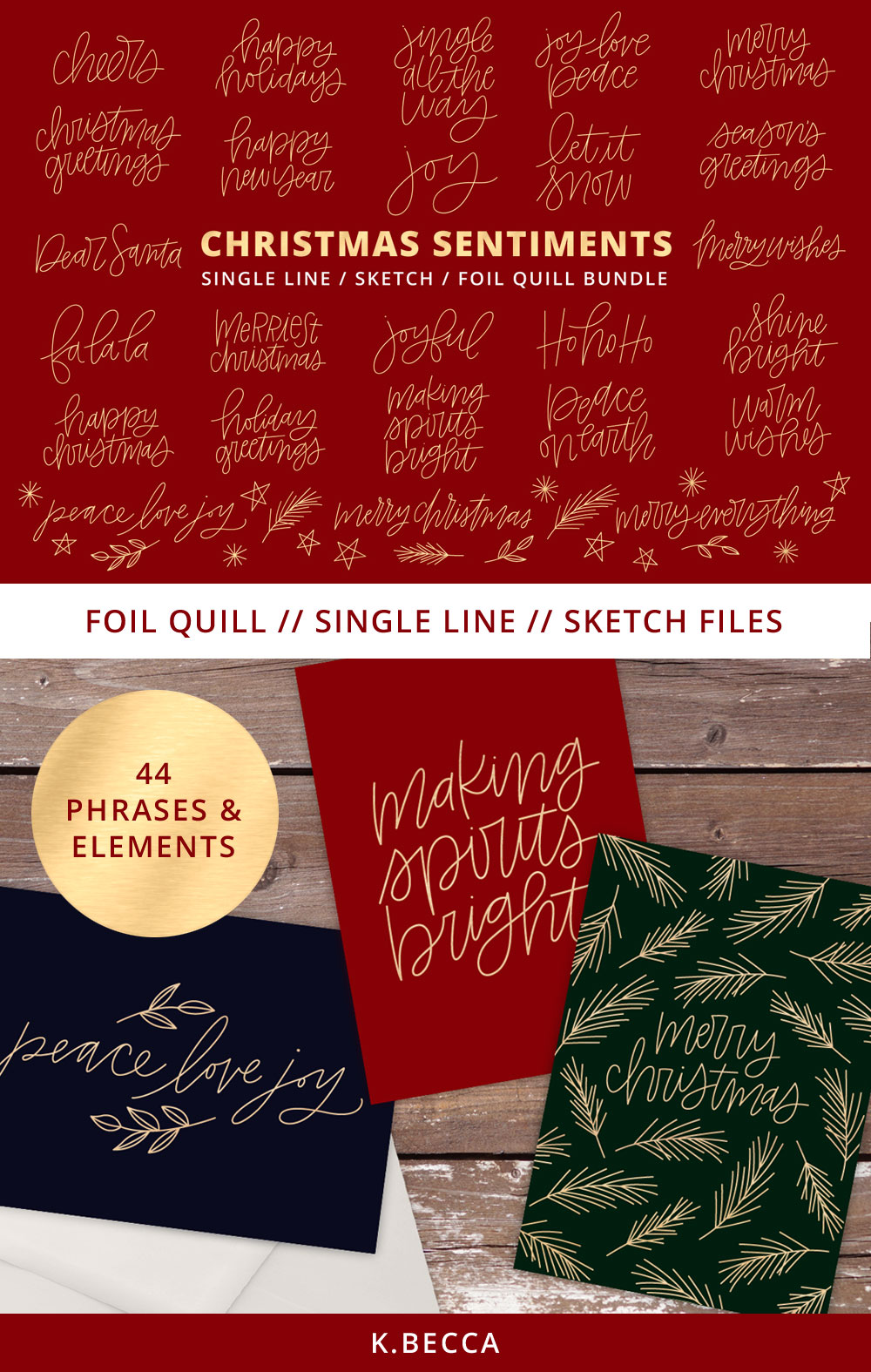 Foil Quill Single Line Sketch Christmas Phrases Bundle example image 3