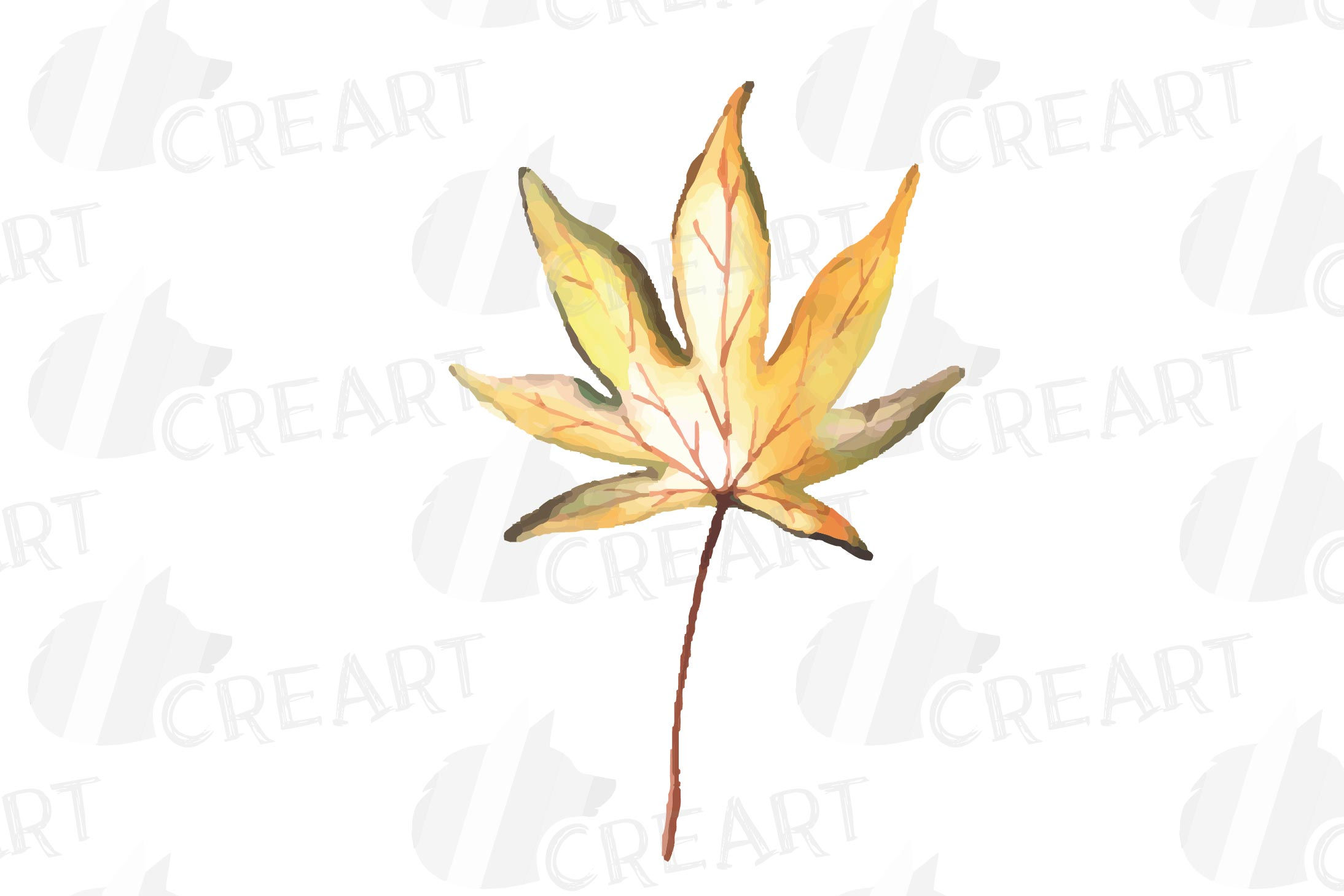 Printable autumn leaves watercolor decoration clip art pack. example image 15