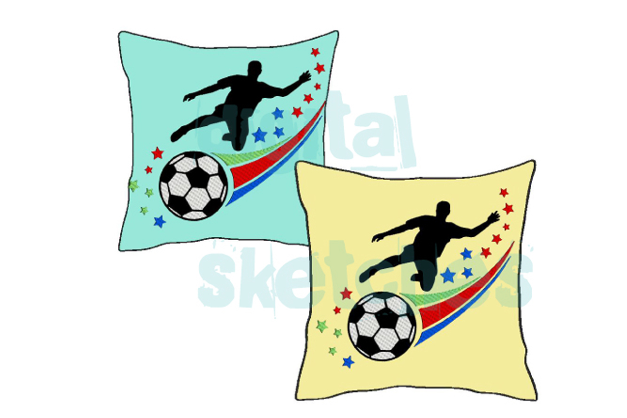 Soccer Player Machine Embroidery Design 3 Sizes example image 2