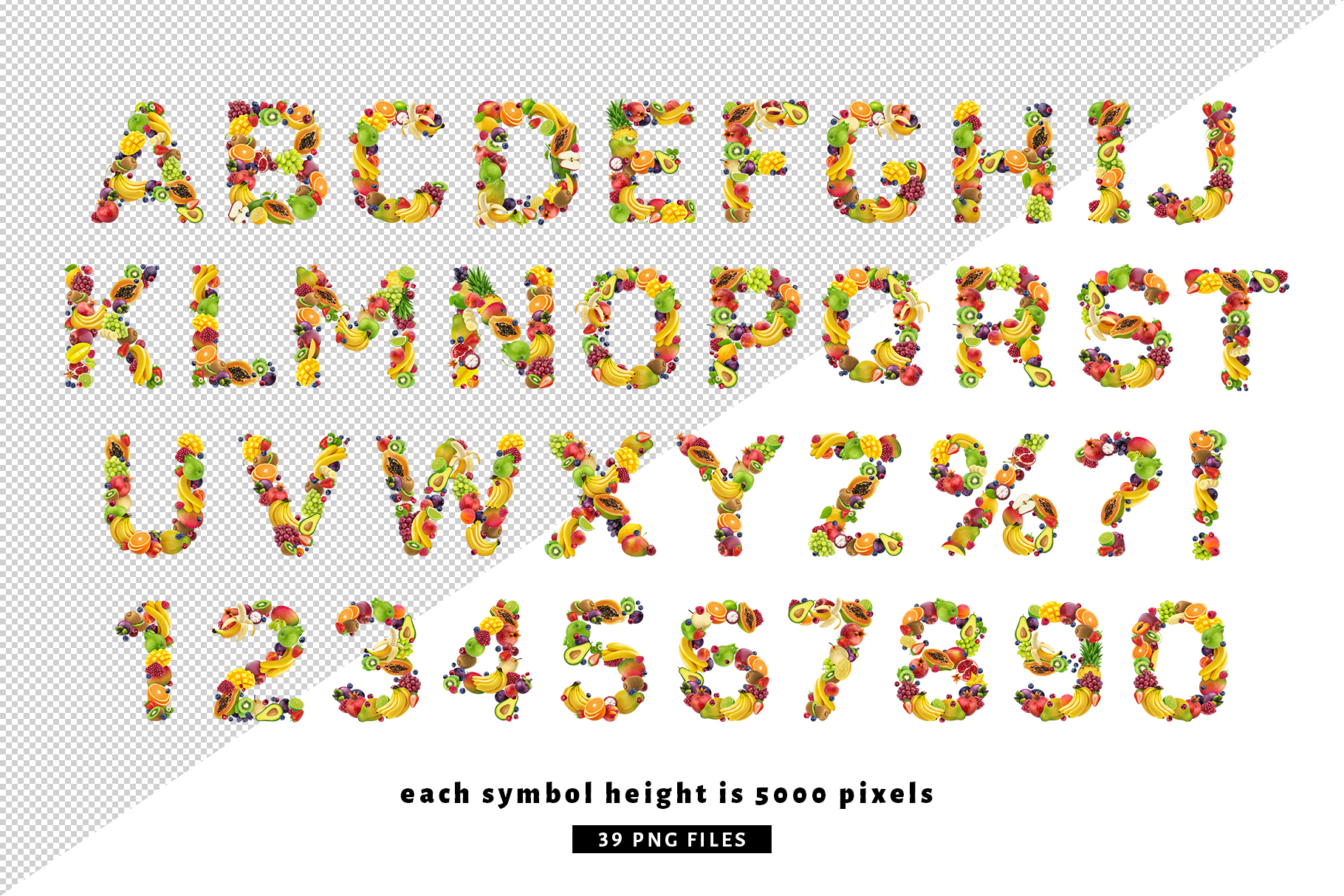 Fruits and berries alphabet, healthy alphabet example image 2