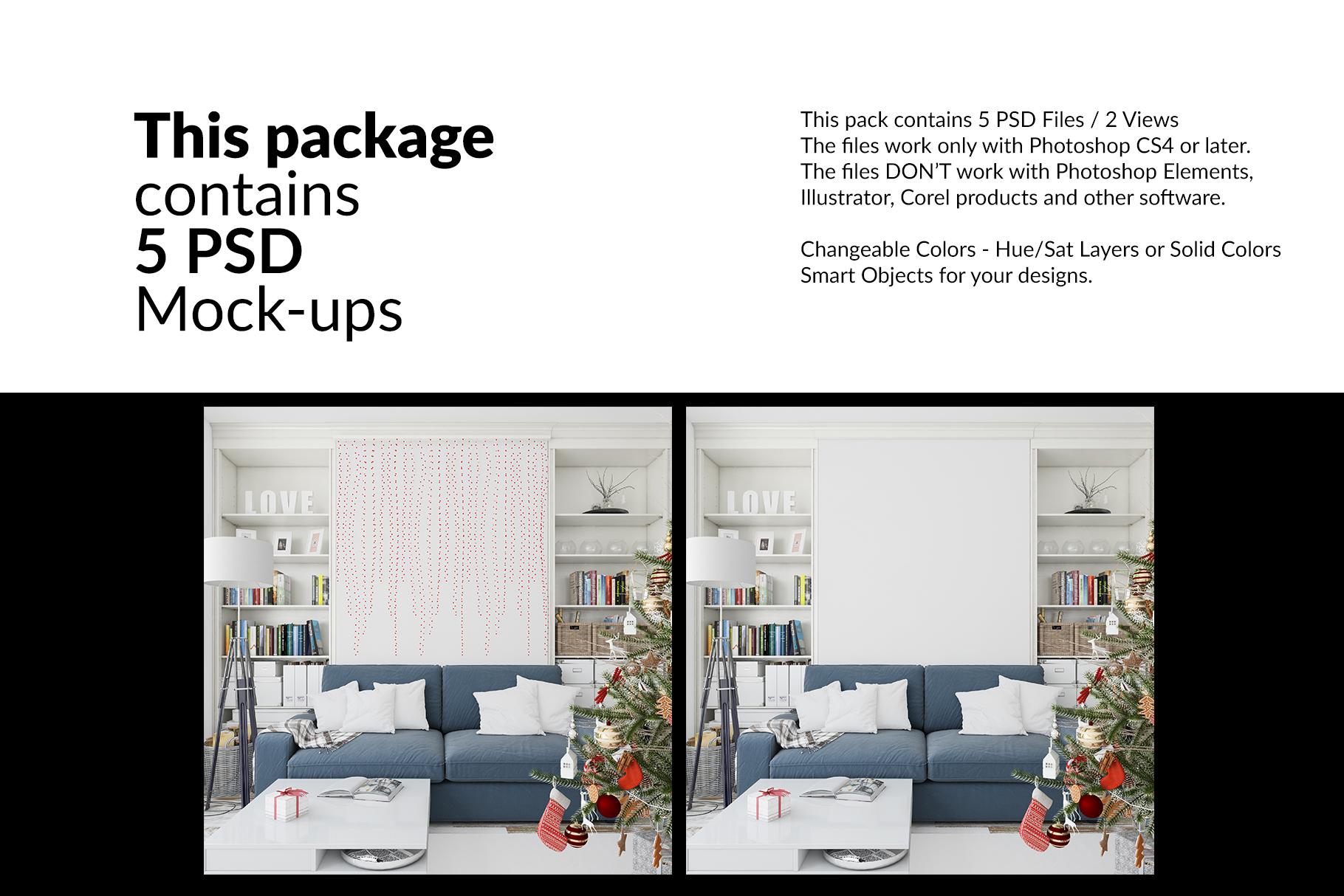 Christmas Living Room Set - Throw Pillows Frames & Wall example image 2